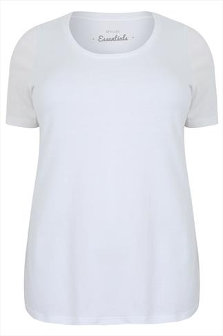 White Scoop Neck Cotton T-Shirt