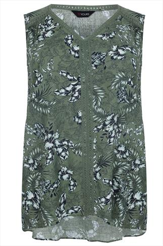 Green Botanical Palm Print Sleeveless Top With Crochet Detail