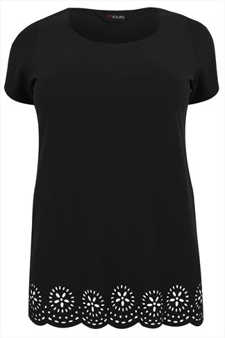 Black Top With Floral Cut Out Detail & Scalloped Hem