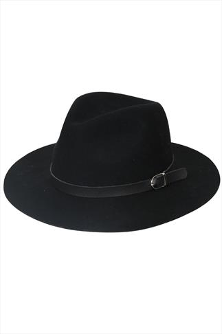 Black Fedora Hat With Buckle Detail
