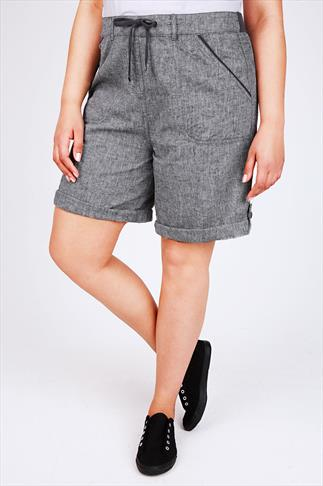 Grey Linen Cotton Shorts With Tab & Button Detail