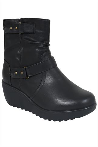 Black Twin Buckle Wedge Ankle Boot With Elasticated Panel In EEE Fit
