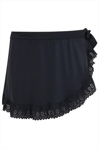 Black Swimskirt With Lazer Cut Out Frill Hem Detail