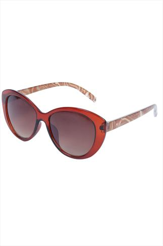 Brown Frame Sunglasses With Pearl Arms