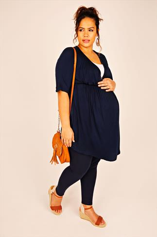 BUMP IT UP MATERNITY Navy & White Nursing Longline Top With V Neck 056333