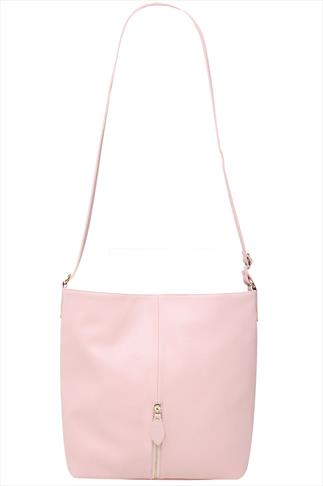 Pastel Pink Slouch Shoulder Bag With Front Zip Detail