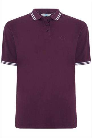 BadRhino Dark Purple Polo Shirt With White Stripe Detail - TALL