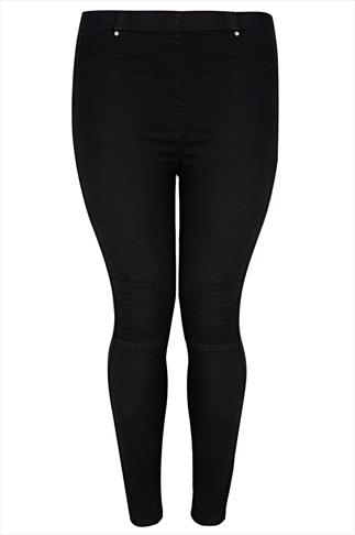 Black Denim Jeggings With Biker Pintuck Knee Detail & Elasticated Waist