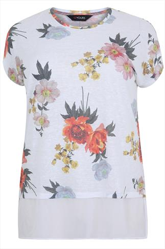 White & Colourful Floral Print Chiffon Hem Layer Top