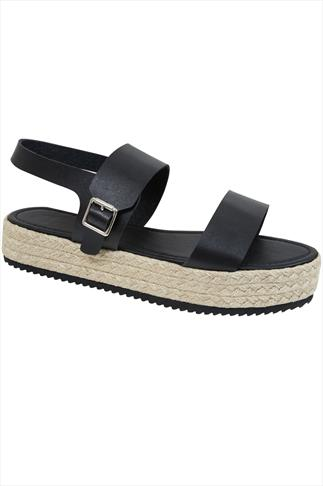 Black PU Flatform Espadrille Sandal In E Fit
