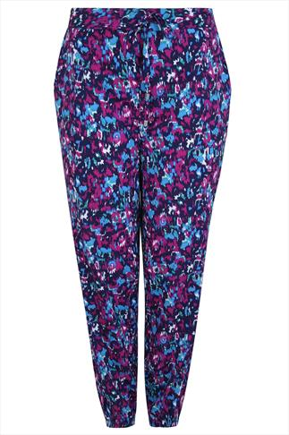 Purple & Blue Brush Stroke Print Harem Trousers With Pockets