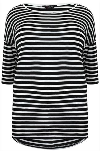 Black & White Striped Half Sleeve Top