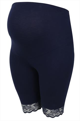 BUMP IT UP MATERNITY Navy Cotton Elastane Legging Shorts With Comfort Panel