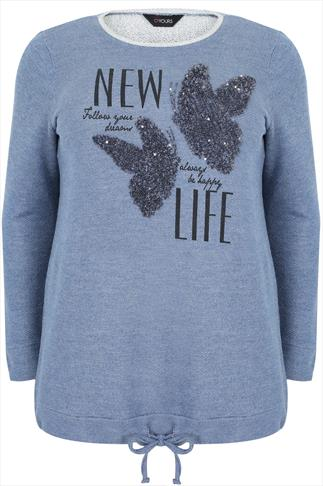 "Blue ""New Life"" Butterfly Embellished Sweat Top"