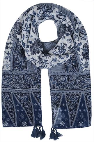 Blue & White Floral Border Print Scarf