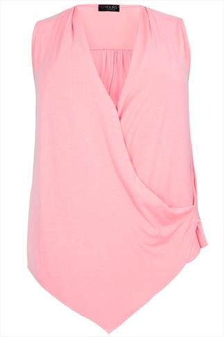 Pastel Pink Wrap Front Jersey Sleeveless Top