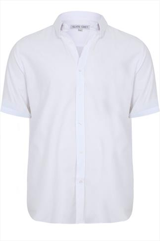 Slate Grey White Formal Short Sleeved Shirt- TALL