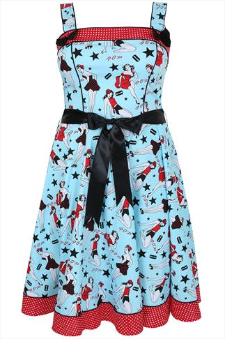 HELL BUNNY Blue Pin Up  50s Style Dress