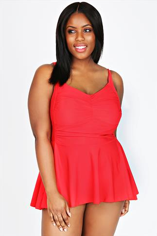 TUMMY CONTROL Red Retro Skirted Swimsuit