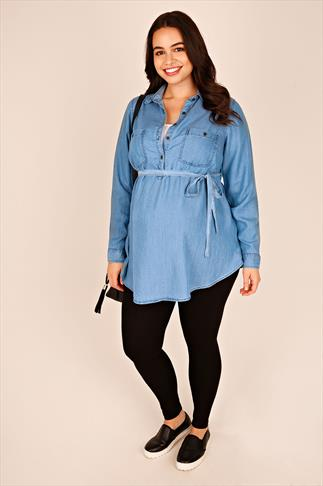 Tops & T-Shirts BUMP IT UP MATERNITY Denim Blue Longline Shirt With Waist Tie 100670