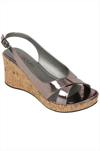 Pewter Crossover Peep Toe Cork Wedge Sandal In A EEE Fit