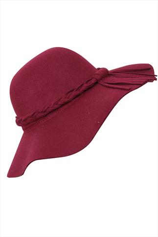 Wine Felt Plait Floppy Hat