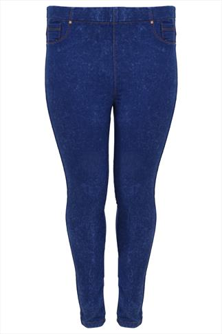 Blue Acid Wash Denim Jeggings With Elasticated Waist