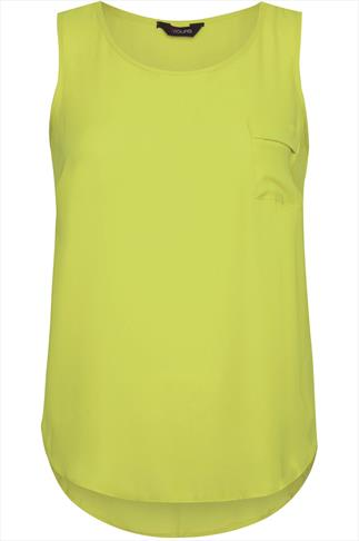 Lime Georgette Sleeveless Top With Pocket And Curved Hem
