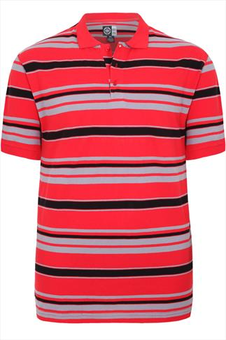 Red, Grey & Black Stripe Short Sleeve Polo Shirt