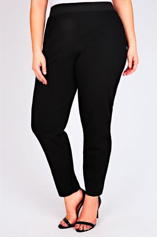 Harem Black Textured Jersey Trousers With Elasticated Waist 100888