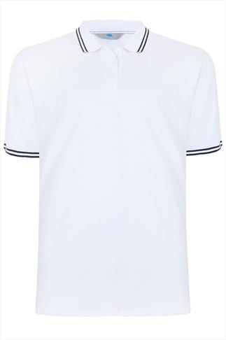 BadRhino White Polo Shirt With Navy Stripe Detail