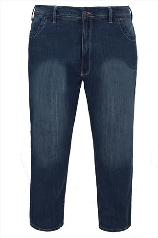 D555 Tapered Leg Stretch Jeans With Hip Panels