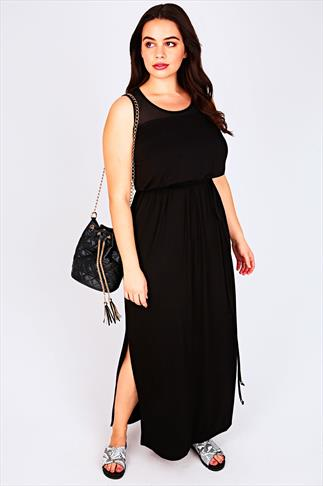 Black Sleeveless Maxi Dress With Mesh Shoulder Panel