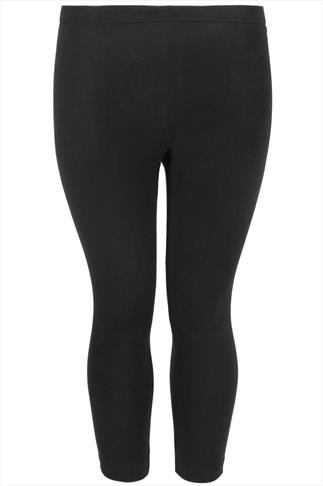 Black Cotton Elastane Cropped Leggings