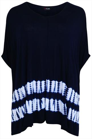 Navy & White Tie-Dyed Oversized Top With Hanky Hem
