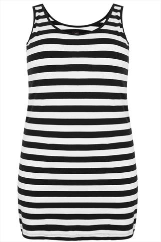 Black & White Stripped Longline Vest Top