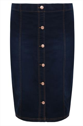 Indigo Blue Denim Button Front Pull On Midi Skirt