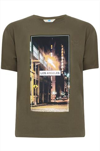 "BadRhino Khaki ""Los Angeles""  Printed Round Neck T-shirt"