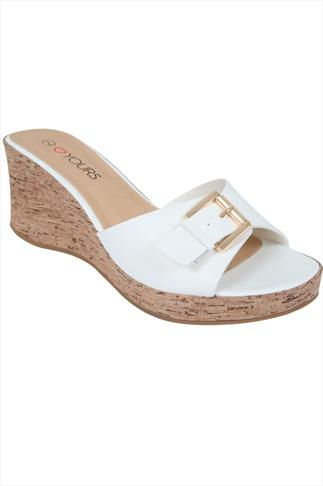 White High Cork Wedge Mule In EEE Fit