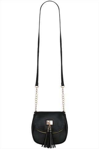 Black Faux Leather Tassel Trim Oval Bag With Body Strap