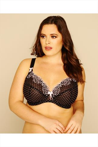 ELOMI Black And Pink Polka Dot Underwired Plunge Betty Bra 014032