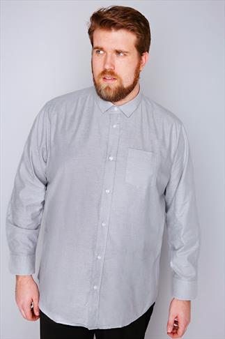 Slate Grey Light Grey Long Sleeved Oxford Shirt - TALL