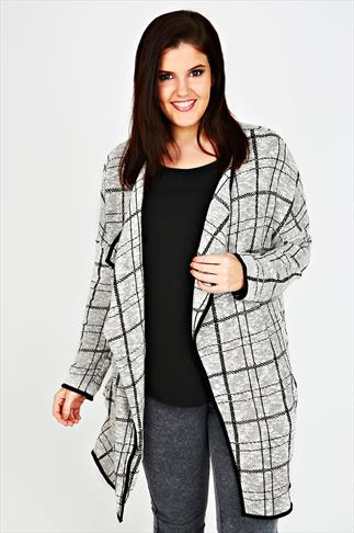 Black & White Checked Jacquard Jersey Jacket