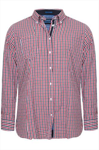 D555 Red & Navy Gingham Check Long Sleeve Shirt - REG