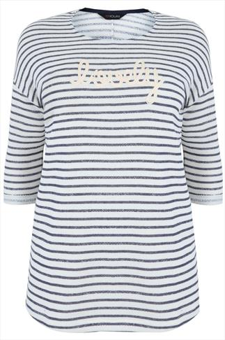 "Navy & Ecru Striped Sweat Top With ""Lovely"" Embroidered Detail"