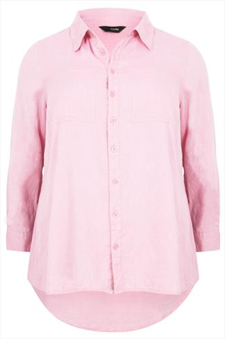 Pink Chambray Cotton Boyfriend Button-Up Shirt With Dip Back