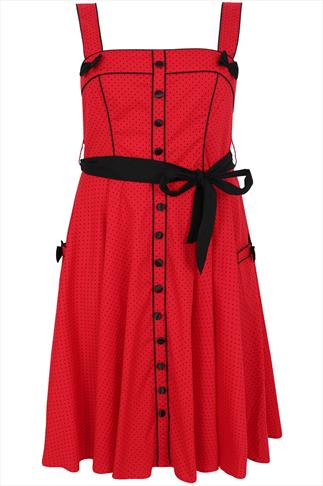 HELL BUNNY Red & Black Polka Dot Print 50's Style Dress