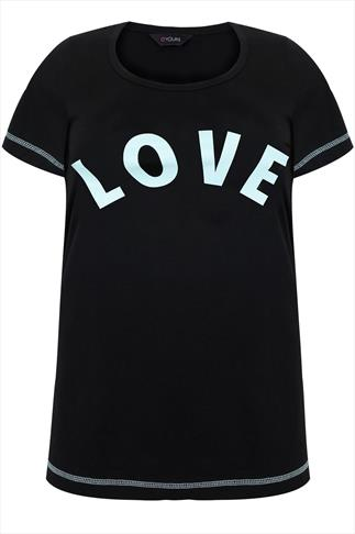 Black & Pale Green 'LOVE' Print Jersey Pyjama Top
