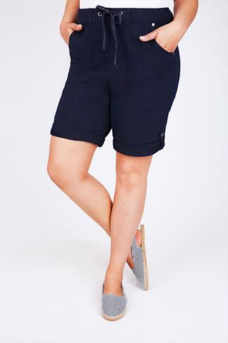 Navy Blue Cool Cotton Roll Up Shorts With Tab & Button Detail