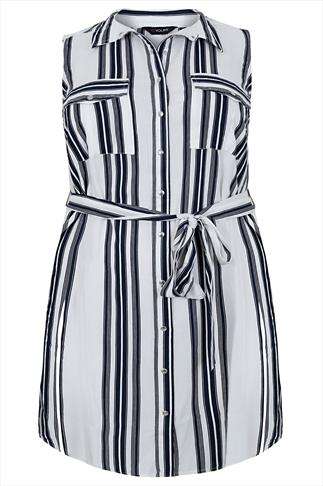 Navy & White Striped Sleeveless Longline Shirt With Side Slits